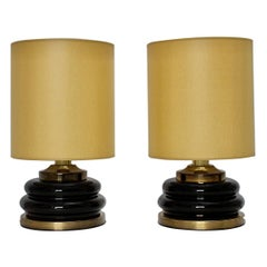 Mid-Century Modern Brown Gold Glass Vintage Table Lamps, 1970s, Italy