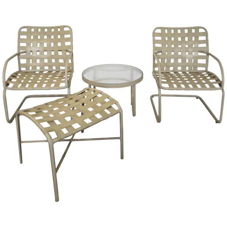 Peachy Mid Century Modern Brown Jordan Patio Set Pair Bouncy Chair Ottoman Side Table Home Remodeling Inspirations Cosmcuboardxyz