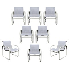 Mid-Century Modern Brown Jordan Set of 8 Patio Dining Armchairs