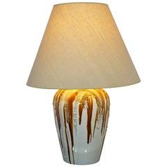 Mid-Century Modern Brown Lava Drip Glazed Ceramic Table Lamp Brass Finial, 1960s