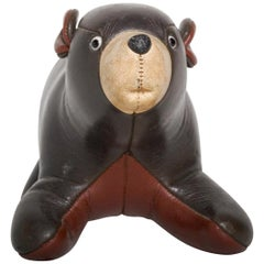 Mid-Century Modern Brown Leather Bear Stuffed Toy