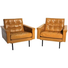 Mid-Century Modern Brown Leather Club Chairs by Johannes Spalt Vienna circa 1959