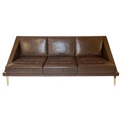 Mid-Century Modern Brown Leather Sofa with Tapered Gilt Metal Legs by C. Ramos