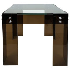 Mid-Century Modern Brown Lucite Side Table with Inset Glass Top