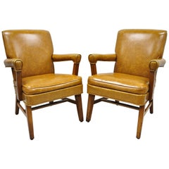 Mid-Century Modern Brown Vinyl Sculpted Wood Office Library Armchairs, a Pair