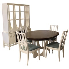 Mid-Century Modern Broyhill Brasilia Dining Table Chairs Credenza & Hutch Set