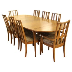 Mid-Century Modern Broyhill Brasilia Expandable Dining Set Table 8 Chairs, 1960s