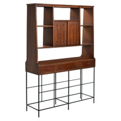 Mid-Century Modern Broyhill Saga Room Divider with Custom Hand Welded Steel Base