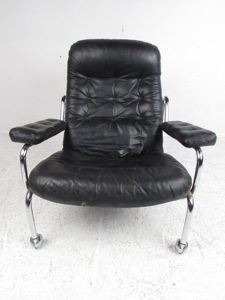 Mid Century Modern Bruno Mathsson Lounge Chair And Ottoman
