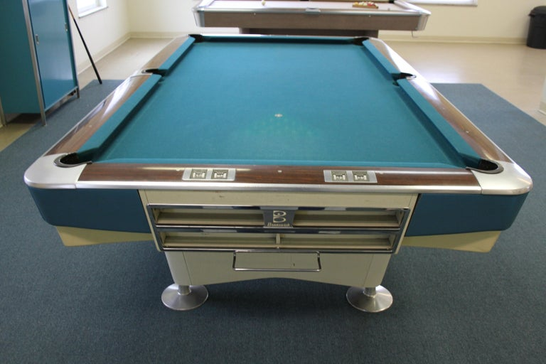 Mid-Century Modern Brunswick Gold Crown I Billiards Pool Table with Blue Aprons For Sale 4
