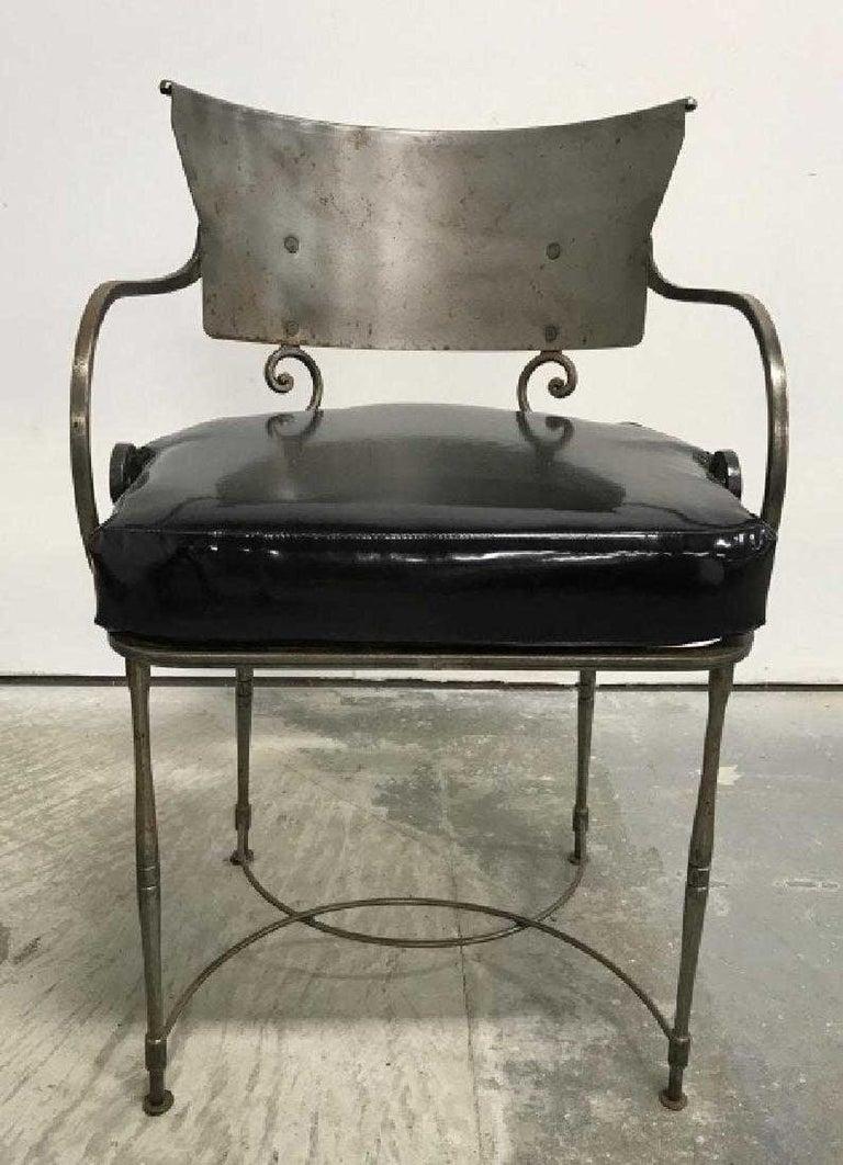 Industrial Mid-Century Modern Brush Metal Garden Armchairs For Sale
