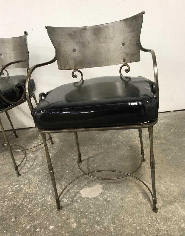 Mid-Century Modern Brush Metal Garden Armchairs In Good Condition For Sale In Great Barrington, MA