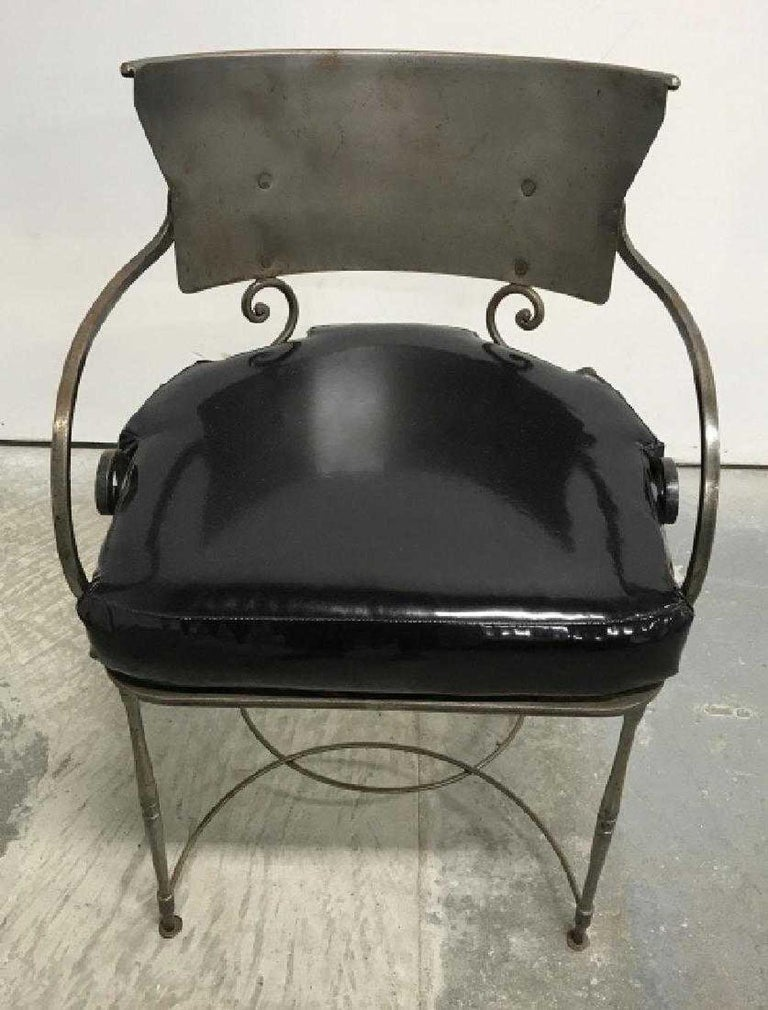20th Century Mid-Century Modern Brush Metal Garden Armchairs For Sale