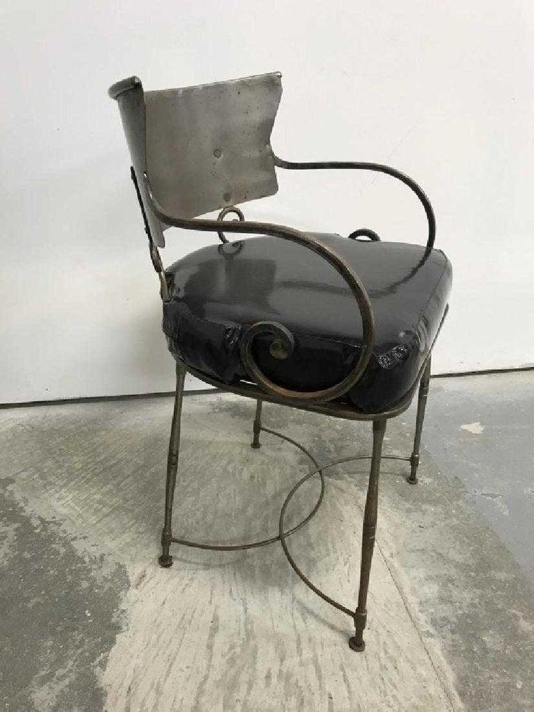 Steel Mid-Century Modern Brush Metal Garden Armchairs For Sale