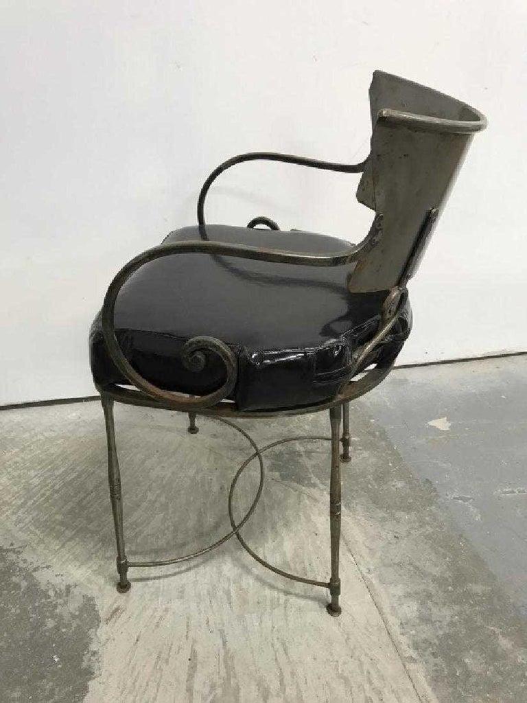 Mid-Century Modern Brush Metal Garden Armchairs For Sale 2