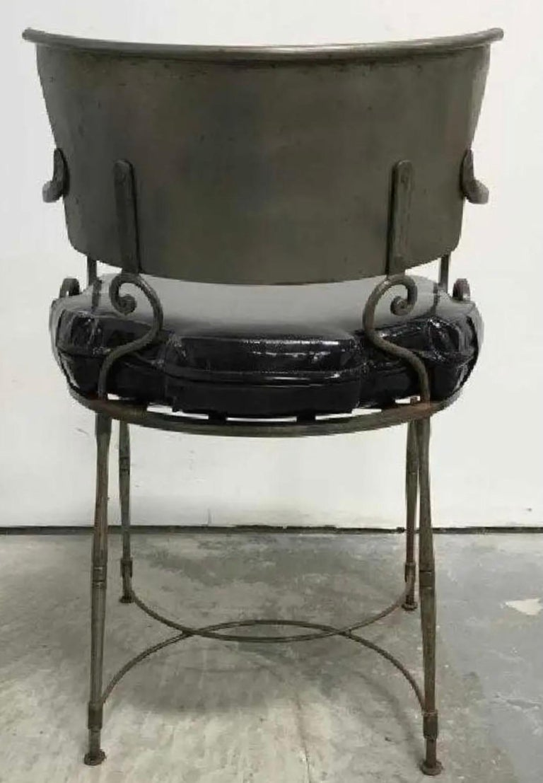 North American Mid-Century Modern Brush Metal Garden Armchairs For Sale