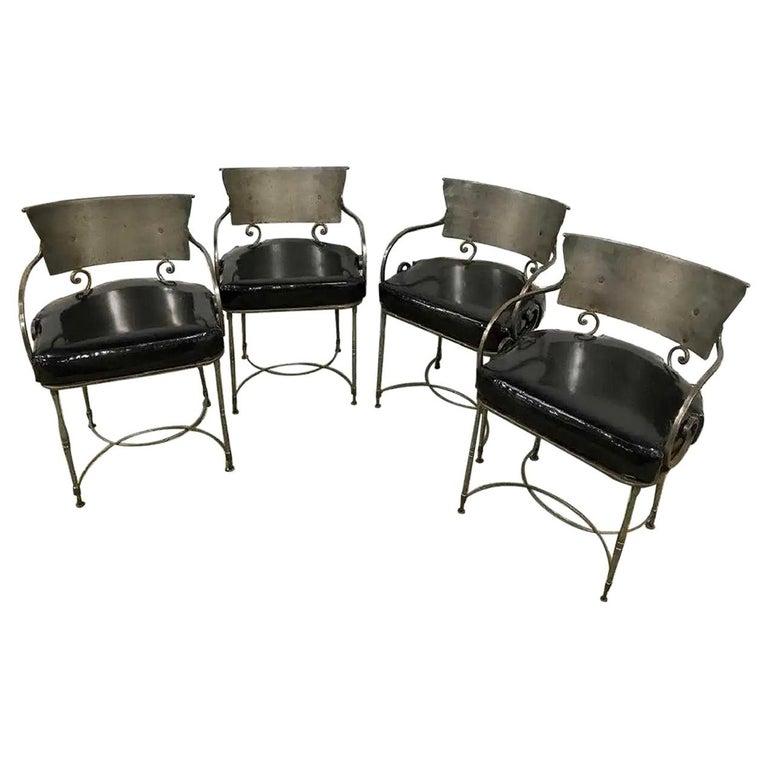Mid-Century Modern Brush Metal Garden Armchairs For Sale