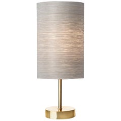 Mid-Century Modern Brushed Brass Table Lamp with Gray Wood Veneer Shade
