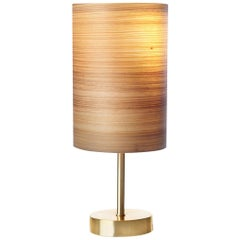 Mid-Century Modern Brushed Brass Table Lamp with Wood Veneer Shade