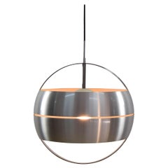 Mid-Century Modern Brushed Steel and Chrome Italian Chandelier, 1960s