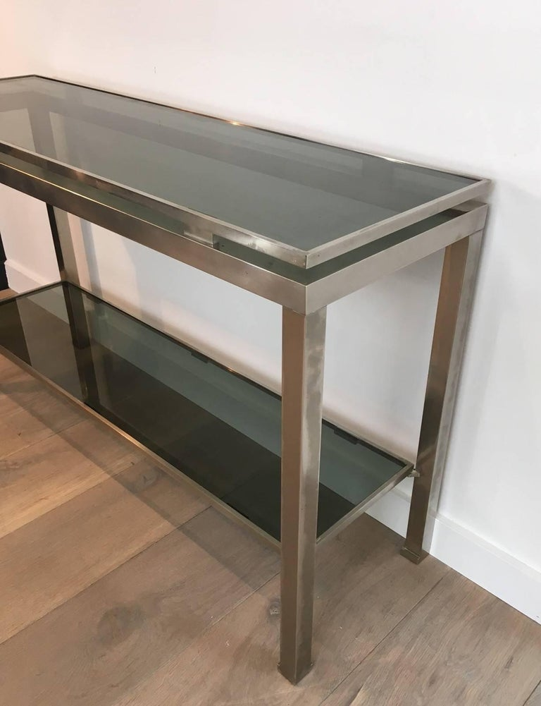 Mid-Century Modern Brushed Steel Console by Guy Lefèvre for Maison Jansen For Sale 5