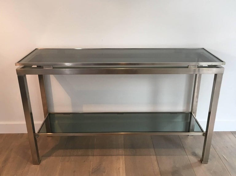 French Mid-Century Modern Brushed Steel Console by Guy Lefèvre for Maison Jansen For Sale