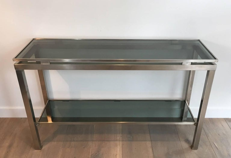 Mid-Century Modern Brushed Steel Console by Guy Lefèvre for Maison Jansen In Excellent Condition For Sale In Long Island City, NY
