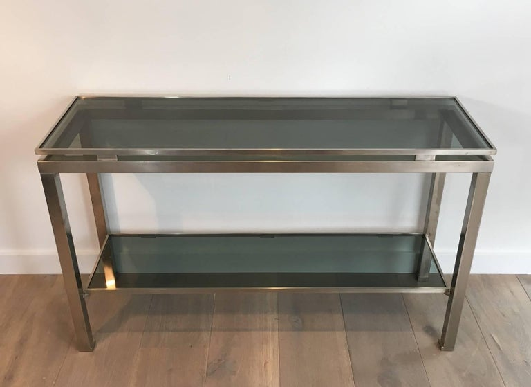 Late 20th Century Mid-Century Modern Brushed Steel Console by Guy Lefèvre for Maison Jansen For Sale