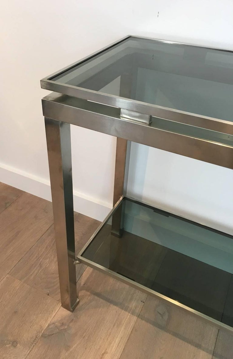 Mid-Century Modern Brushed Steel Console by Guy Lefèvre for Maison Jansen For Sale 2