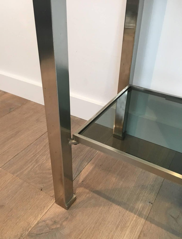 Mid-Century Modern Brushed Steel Console by Guy Lefèvre for Maison Jansen For Sale 3