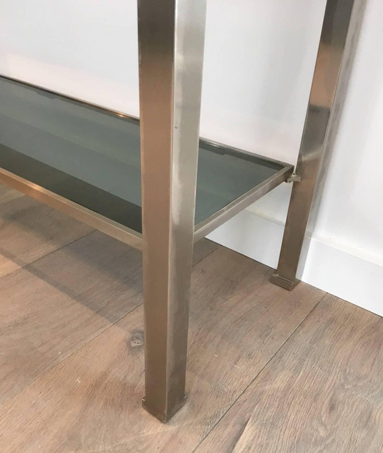 Mid-Century Modern Brushed Steel Console by Guy Lefèvre for Maison Jansen For Sale 4