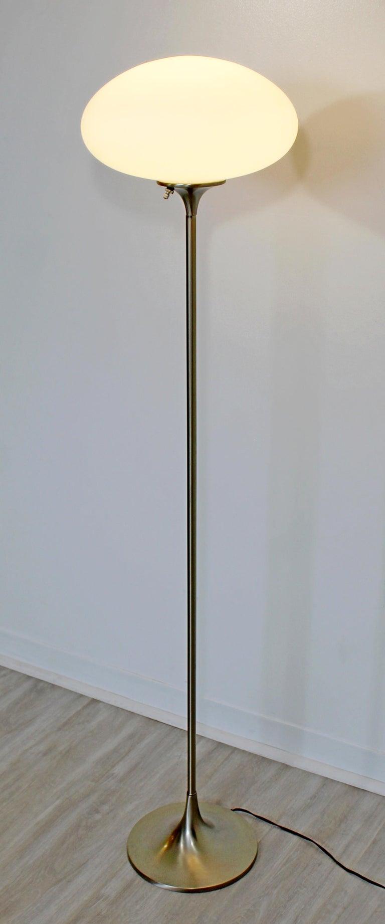 American Mid-Century Modern Brushed Steel Glass Mushroom Standing Floor Lamp Laurel 1970s For Sale