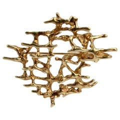 Mid-Century Modern Brutalist 14 Karat Gold Matrix Brooch or Pin