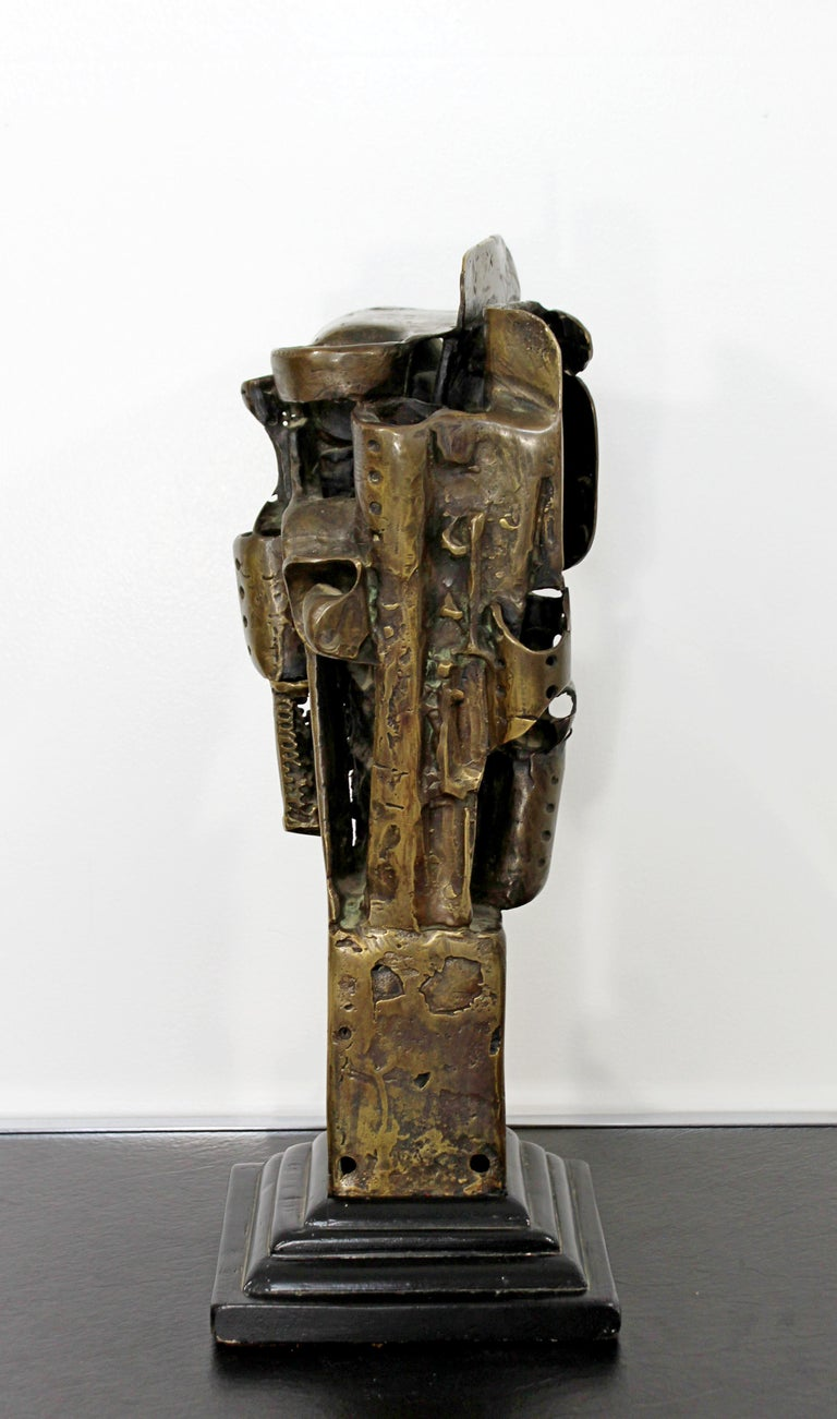 Mid-Century Modern Brutalist Abstract Bronze Table Sculpture on Wood Base, 1970s For Sale 1