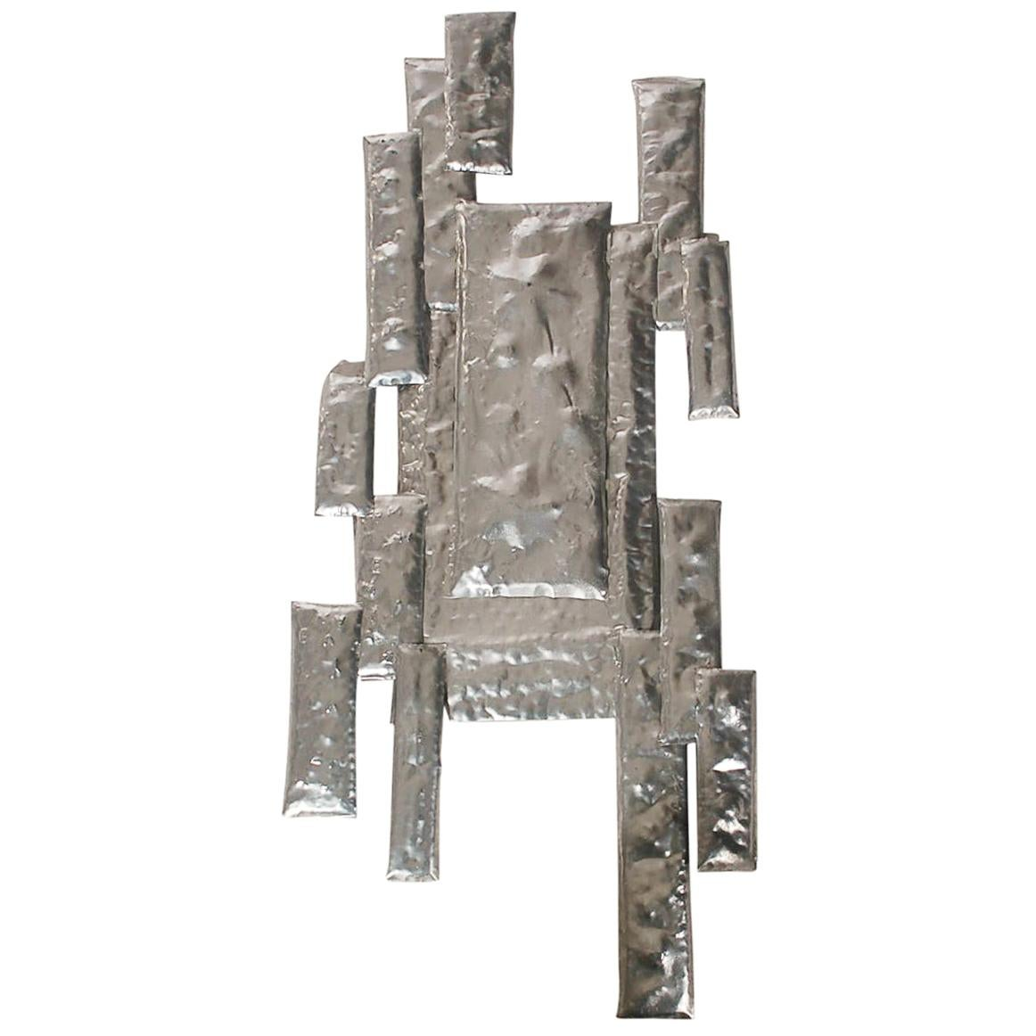 Mid-Century Modern Brutalist Abstract Metal Wall Sculpture after Curtis Jere