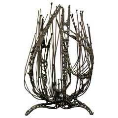 Mid-Century Modern Brutalist Abstract Metal Wire Table Sculpture, 1960s