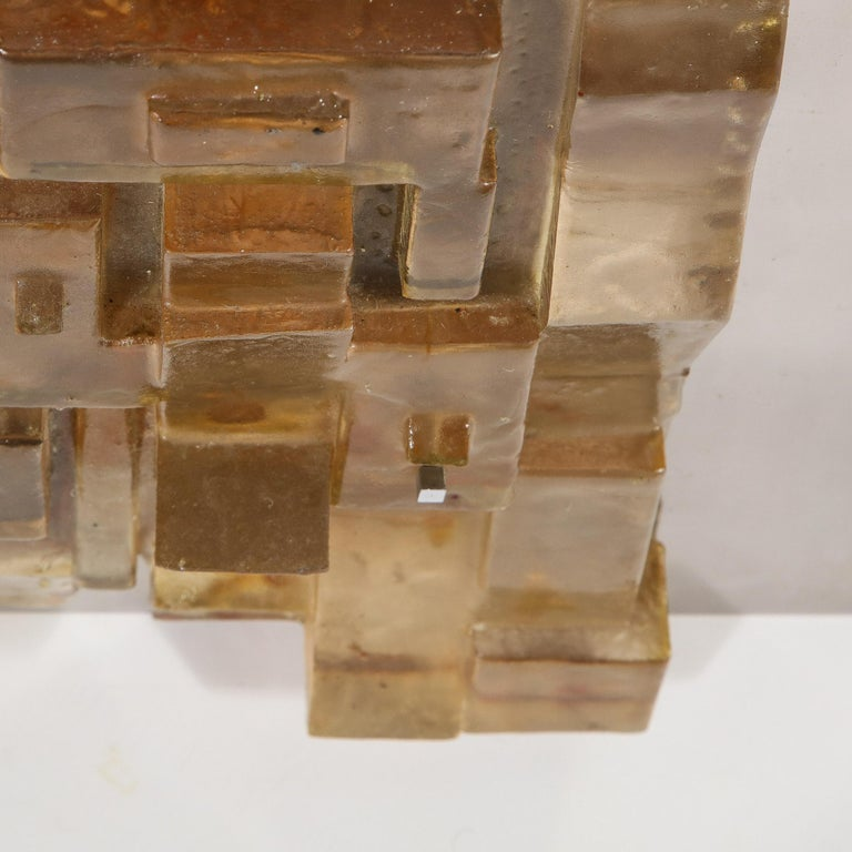 Mid-Century Modern Brutalist Amber Lucite and Brushed Aluminum Wall Sculpture For Sale 5