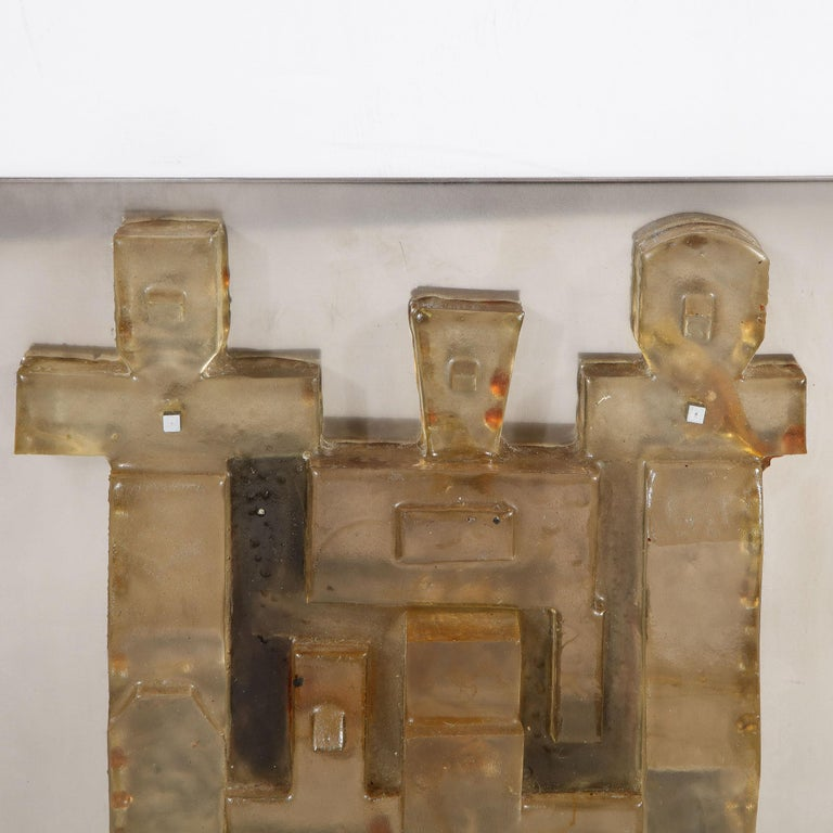 American Mid-Century Modern Brutalist Amber Lucite and Brushed Aluminum Wall Sculpture For Sale