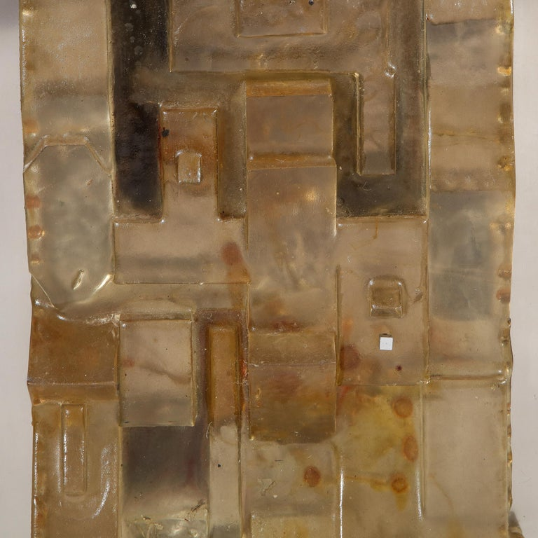 Mid-Century Modern Brutalist Amber Lucite and Brushed Aluminum Wall Sculpture In Excellent Condition For Sale In New York, NY