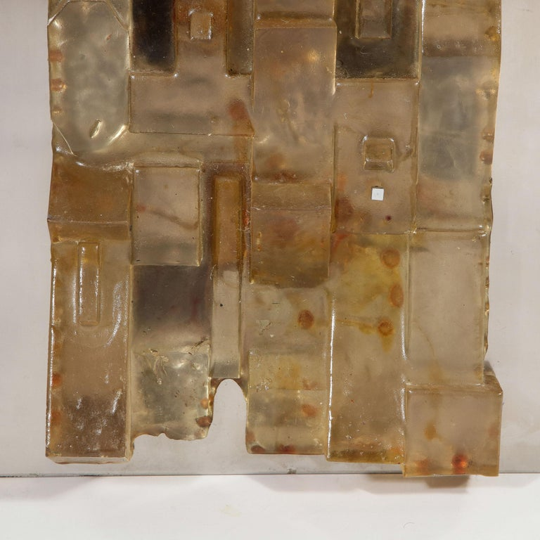 Late 20th Century Mid-Century Modern Brutalist Amber Lucite and Brushed Aluminum Wall Sculpture For Sale