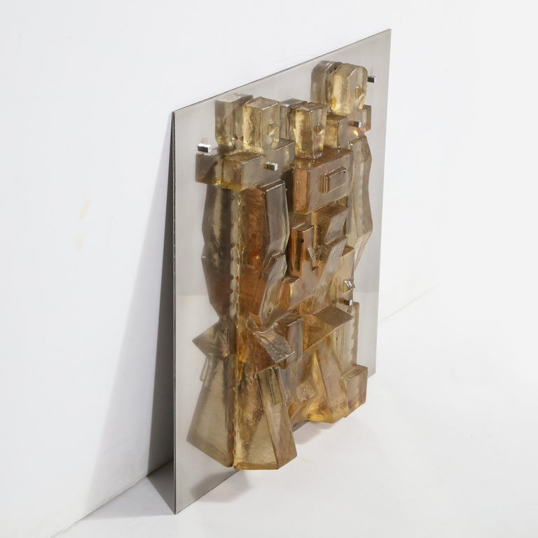 Mid-Century Modern Brutalist Amber Lucite and Brushed Aluminum Wall Sculpture For Sale 2
