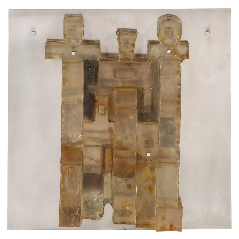 Mid-Century Modern Brutalist Amber Lucite and Brushed Aluminum Wall Sculpture For Sale