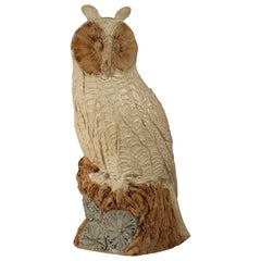 Mid-Century Modern Brutalist Animal Sculpture of a Ceramic Owl by Bernard Rooke