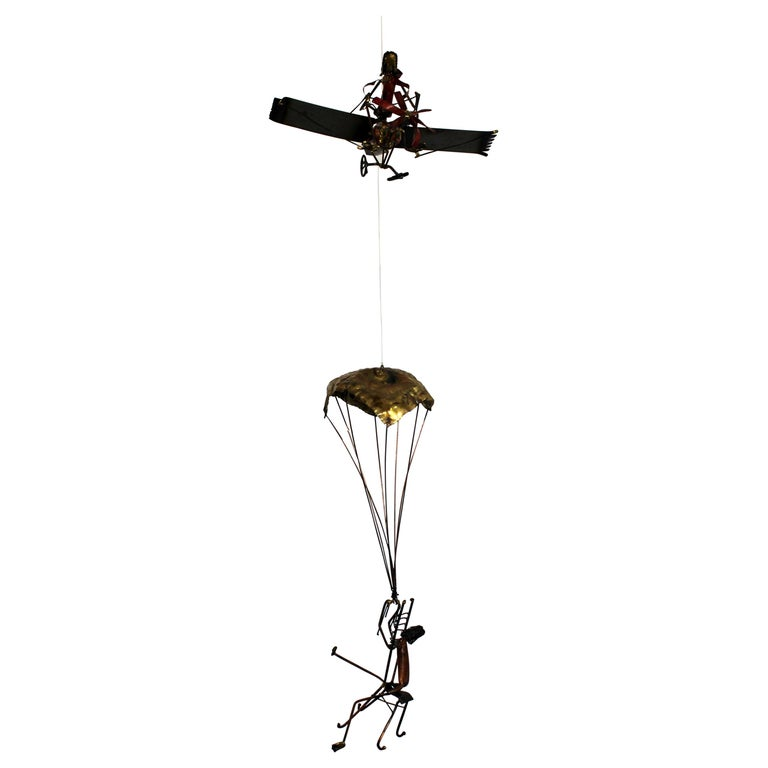 Mid-Century Modern Brutalist Brass Hanging Sculpture 1970s Plane and Parachute For Sale