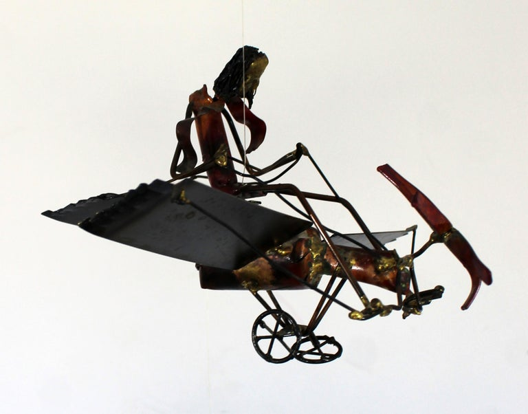 Mid-Century Modern Brutalist Brass Hanging Sculpture 1970s Plane and Parachute For Sale 7