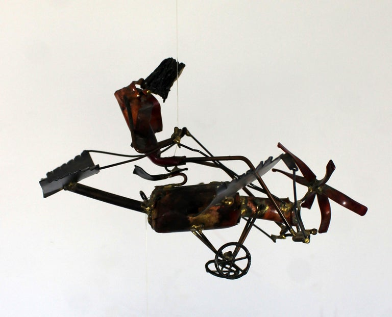Mid-Century Modern Brutalist Brass Hanging Sculpture 1970s Plane and Parachute For Sale 8