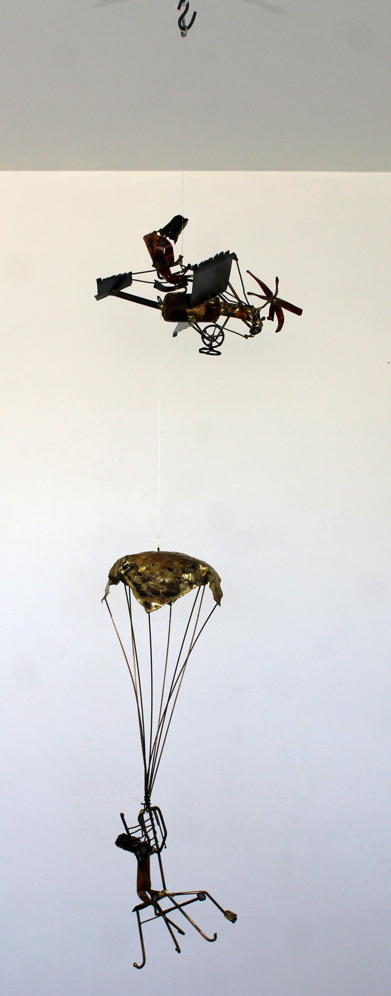 Mid-Century Modern Brutalist Brass Hanging Sculpture 1970s Plane and Parachute For Sale 2