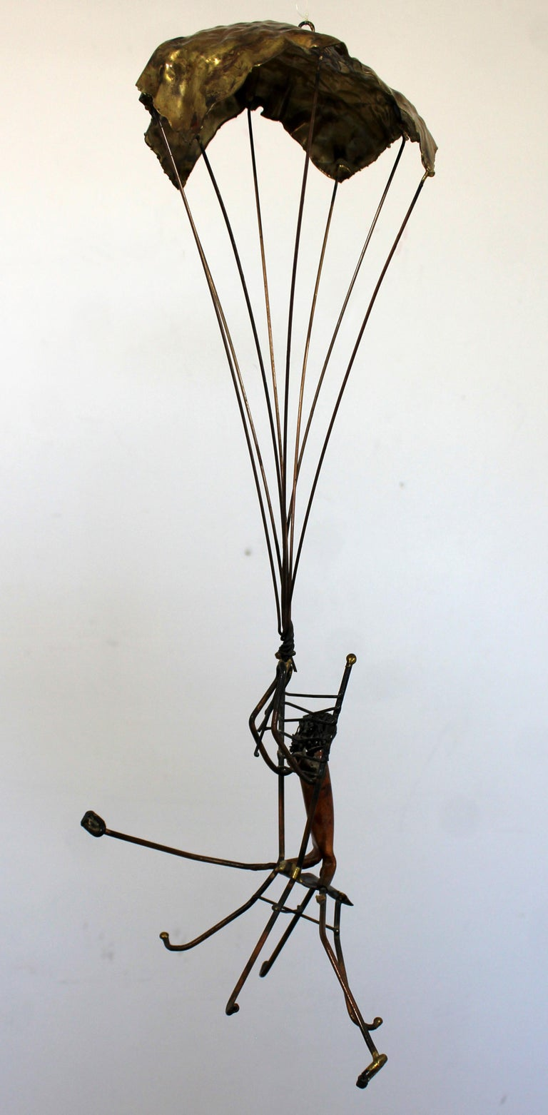 Mid-Century Modern Brutalist Brass Hanging Sculpture 1970s Plane and Parachute For Sale 3