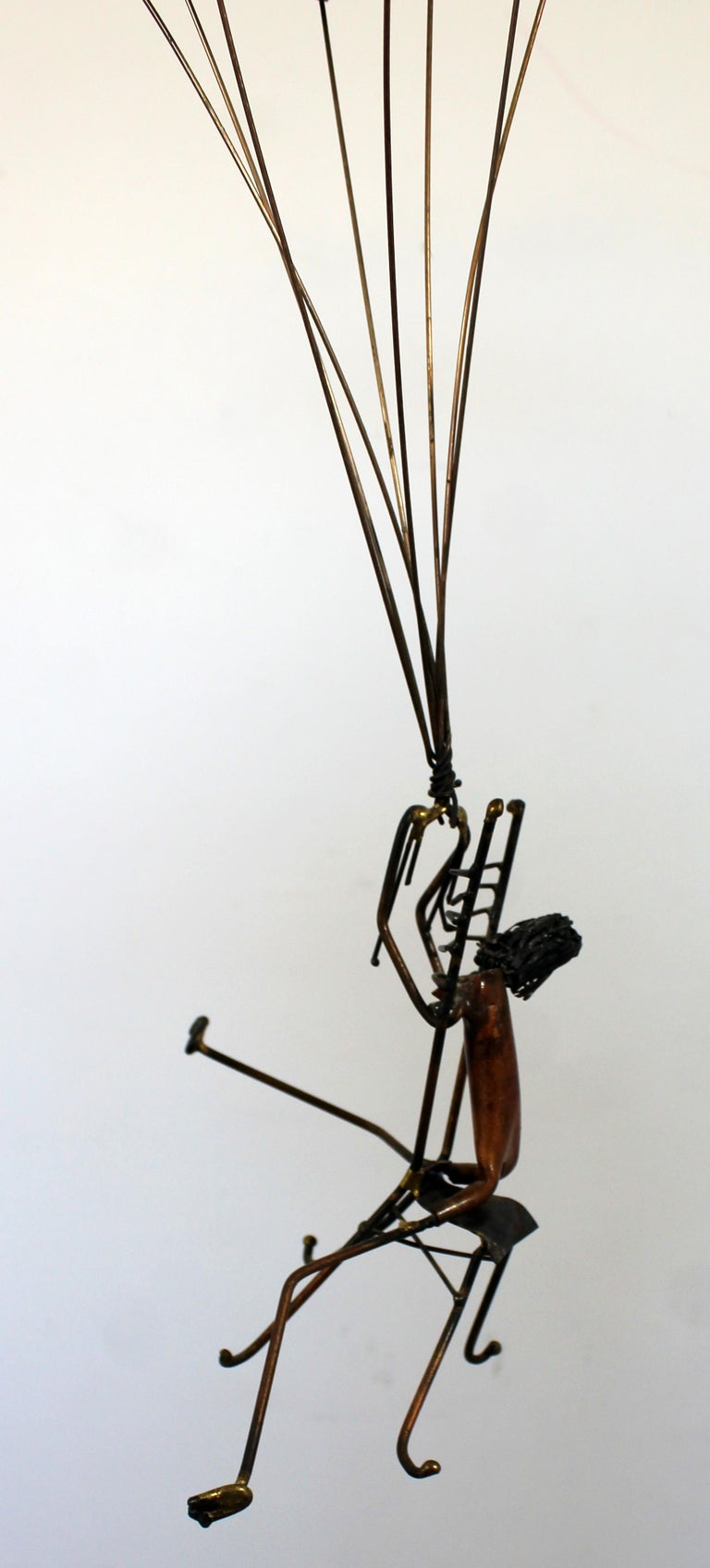 Mid-Century Modern Brutalist Brass Hanging Sculpture 1970s Plane and Parachute For Sale 4
