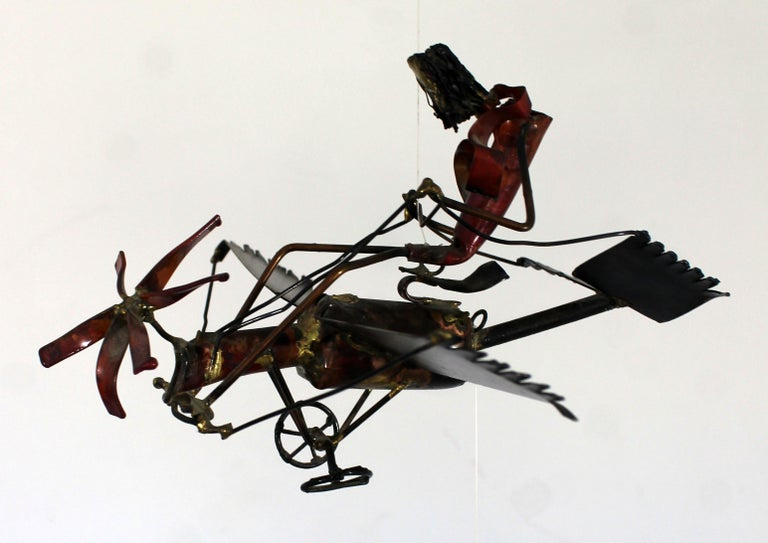 Mid-Century Modern Brutalist Brass Hanging Sculpture 1970s Plane and Parachute For Sale 5